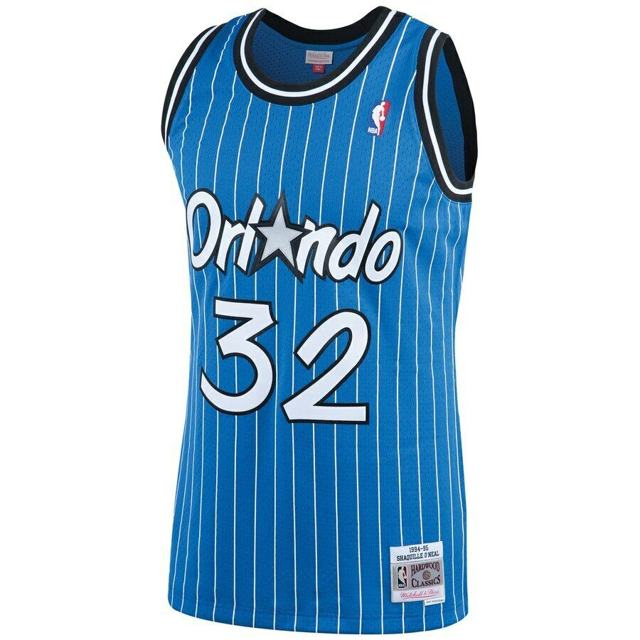 separation shoes ccd98 144ec Details about Mitchell & Ness NBA Orlando Magic #32 O'neal Blue Pinstripe  Swingman Jersey