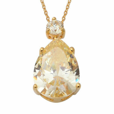 """ELANZA Swiss Star Yellow Cubic Zirconia Chain Pendant Necklace Silver Size 18"""""""