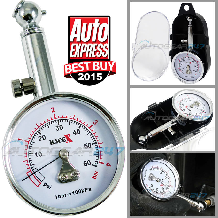 Details about RaceX RX0014 Award Winner GS/TUV Approved 0-60 Psi Tyre  Pressure Gauge with Case