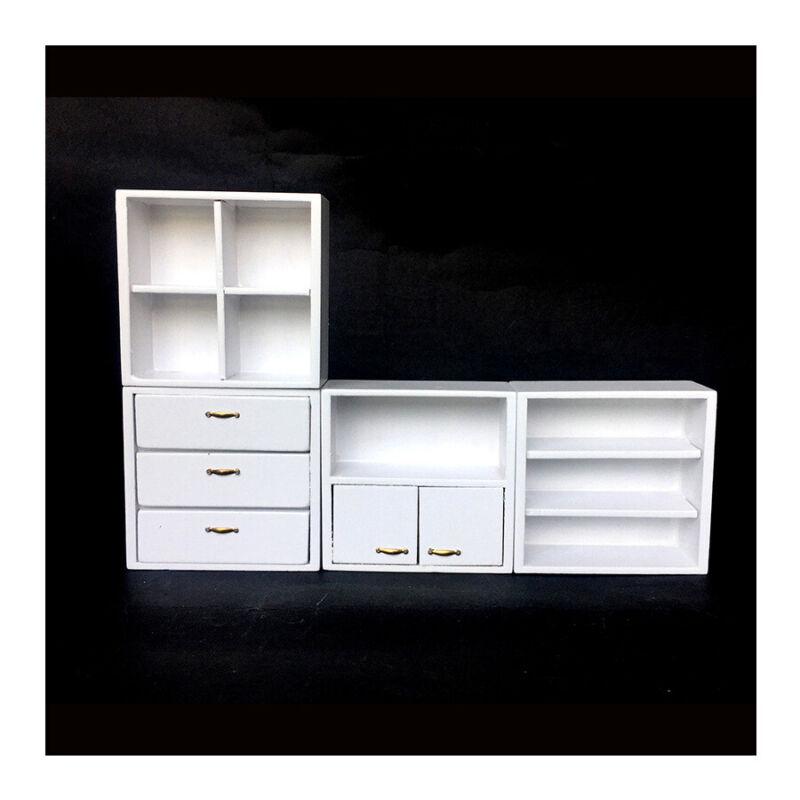 1:12 Dollhouse Mini Furniture White Combination Cabinet Storage Display Showcase