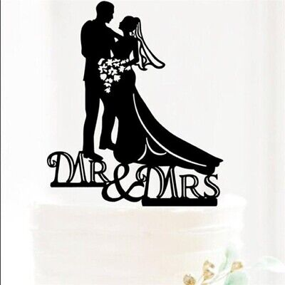 Romantic Mr & Mrs Black Acrylic Bride Groom Figurine Wedding Cake Top (Wedding Cake Tops)