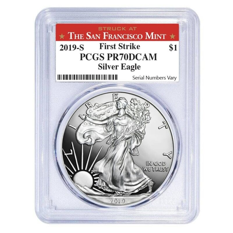 2019-S 1 oz Proof Silver American Eagle PCGS PF 70 DCAM First Strike (SF Label)