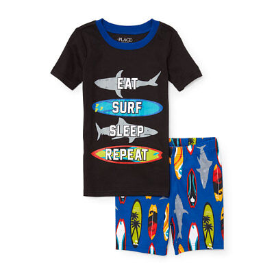 NWT The Childrens Place Glow-In-The-Dark Surf Life Boys Short Sleeve Pajamas - Kid Pjs