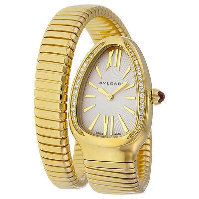 Bvlgari Serpenti Tubogas Silver Opaline Dial 18kt Yellow Gold Quartz Ladies