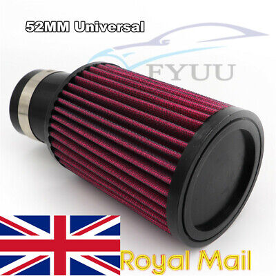 MOTORCYCLE ATV SCOOTER 52MM MUSHROOM HEAD RED CLAMP ON AIR FILTER CLEA