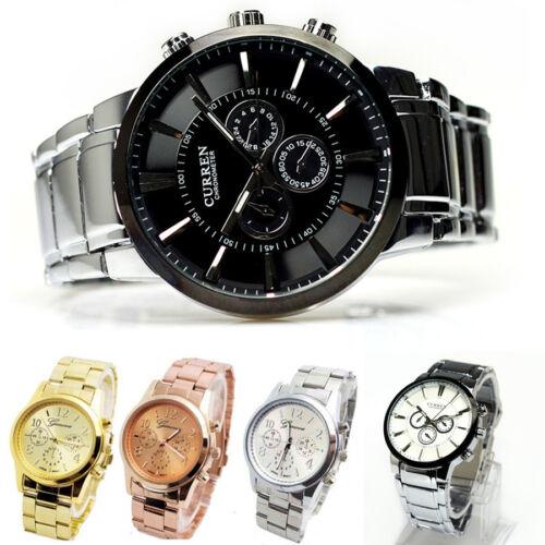 $5.99 - Fashion CURREN Geneva Men Ladies Luxury Stainless Steel Dial Quartz Wrist Watch