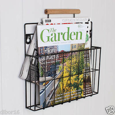 Country Style Wall Mounted Magazine Newspaper Rack Organiser and Store by Dibor