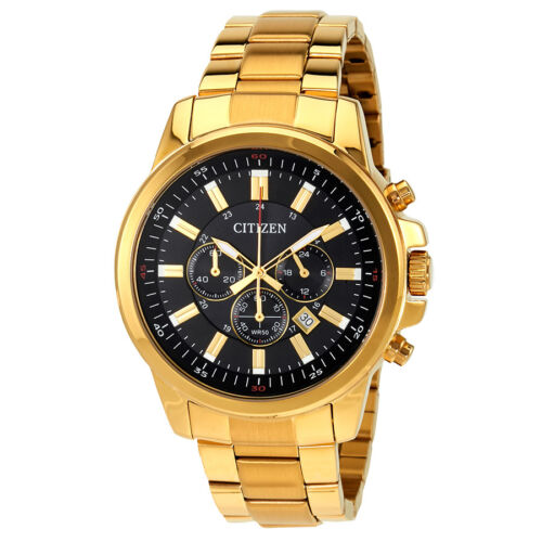 $131.99 - Citizen Black Dial Mens Gold Tone Chronograph Watch AN8083-51E