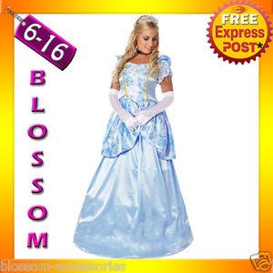 B61-Deluxe-Disney-Cinderella-Princess-Costume-Fairy-Tale-Fancy-Dress-Ball-Gown