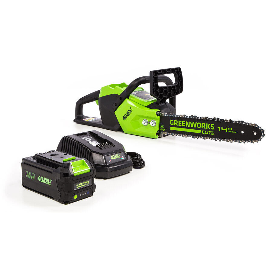 Greenworks CS-140 14-Inch 40V Brushless Cordless Chainsaw,3A