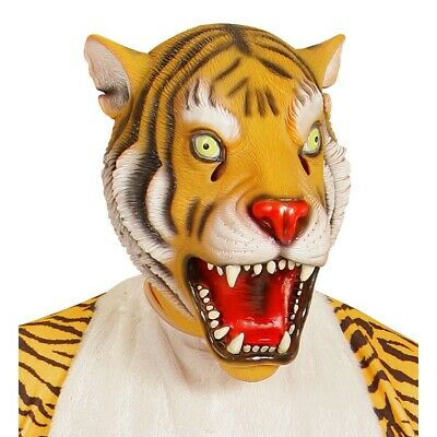 LATEX TIGER MASKE Tigermaske Katzenmaske Tier Dschungel Kostüm Party Deko 96638