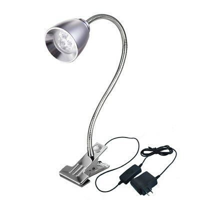 3W LED Desk Clamp Clip Light Study Reading Book Flexible Pipe Lamp Button Plug