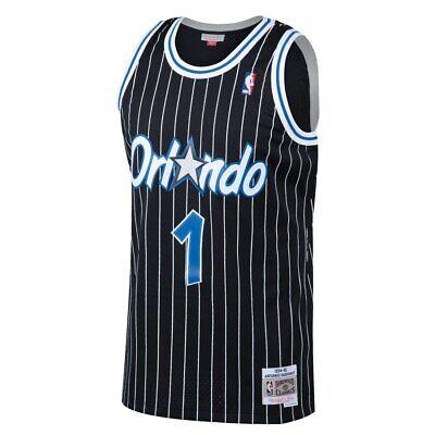 Mitchell & Ness NBA Orlando Magic #1 Hardaway Black Pinstripe Swingman Jersey
