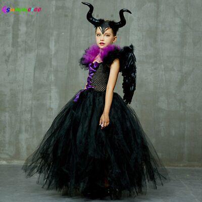 Maleficent Evil Queen Girls Tutu Dress with Horns - Halloween Kostüme Maleficent'