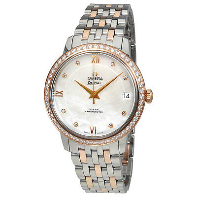 Omega De Ville Mother of Pearl Diamond Dial Steel and 18K Rose Gold Ladies