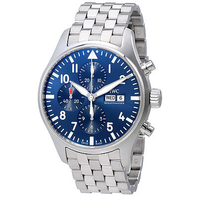 IWC Pilot Le Petit Prince Blue Dial Automatic Mens Chronograph Watch IW377717