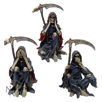 No Evil 3 Reaper Skeleton Ornaments 'Something Wicked; - Nemesis Now - Gothic