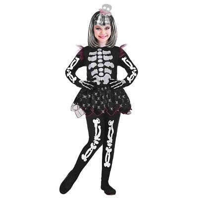 MÄDCHEN SKELETTKOSTÜM Halloween Kinder Skelett Kostüm Kleid & Totenkopf - Skelett Kleid Kind Kostüm