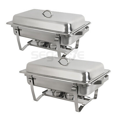 Chafing Dish (Set of 2) 8 Quart Stainless Steel Full Size Tray Buffet - Chafing Trays