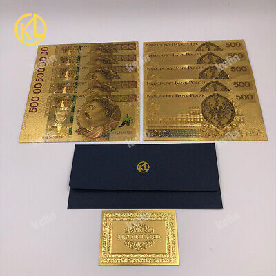 KL 10pcs 2017 COLORED Poland Currency 24K gold plated plastic Banknote 500 PLN  (Colored Plastic Plates Wholesale)