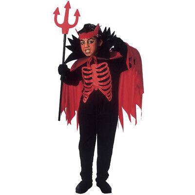 TEUFEL KOSTÜM HÖRNER & UMHANG KINDER Halloween Karneval Satan Party Jungen  - Satan Teufel Kostüm