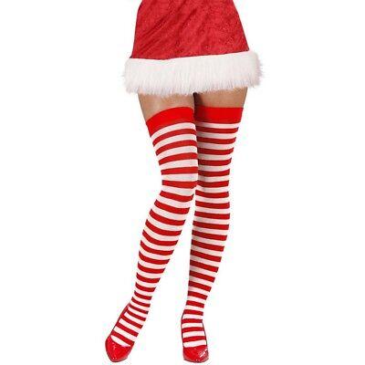 HALTERLOSE GESTREIFTE STRÜMPFE Geringelt Overknees Weihnachtsfrau Rot Weiß  2070