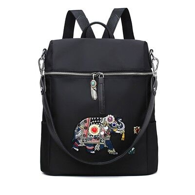 Women Elephant Nylon Backpack School Laptop Shoulder Bags Satchel Travel Bookbag