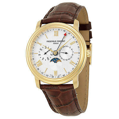 Frederique Constant Business Timer Silver Dial Gold-Plated Mens Watch FC270SW4P5
