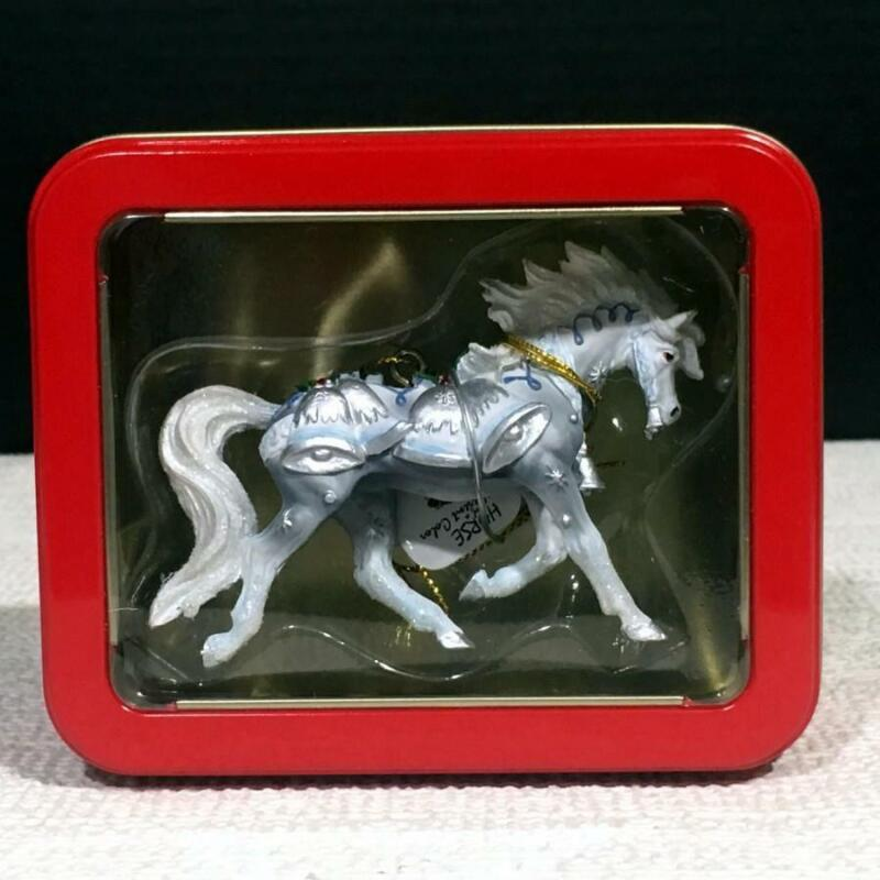 20635 SILVER BELLS Resin Horse of a Different Color Christmas Ornament in Tin
