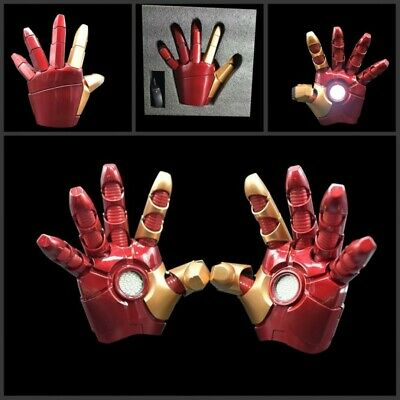 1:1 One Pair Iron Man LED Light Hands Cosplay Props Gloves For Adult Child Toys ](Iron Man Gloves For Kids)