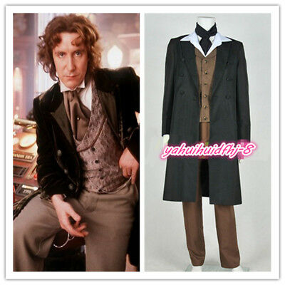 Doctor Who 8th Dr Paul McGann Suit Outfit Cosplay Costume Halloween Custom Made - Doctor Who Halloween Outfit