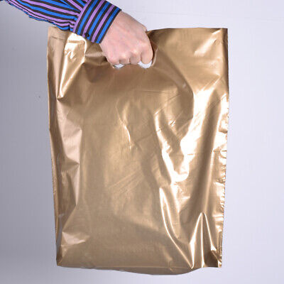 Gold Plastic Carrier Bags 15 x 18