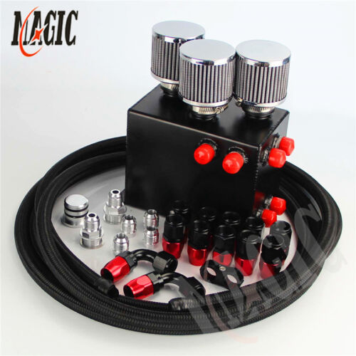 LSAILON Billet Alufor Minium Racing 1L Engine Oil Catch Can Drain Tap Black Fit for Acura//for Honda