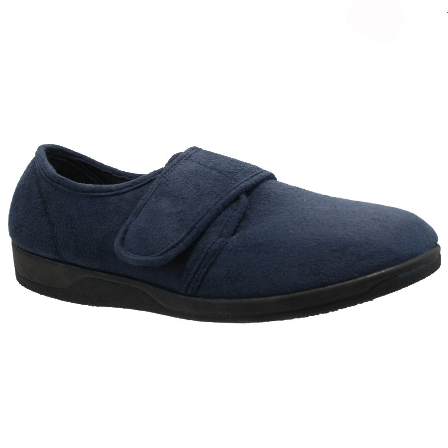 175ab85cf32 MENS VELCRO SLIPPERS SLIPPER WARM WINTER INDOOR RUBBER SOLE SHOES SOFT  COMFORT