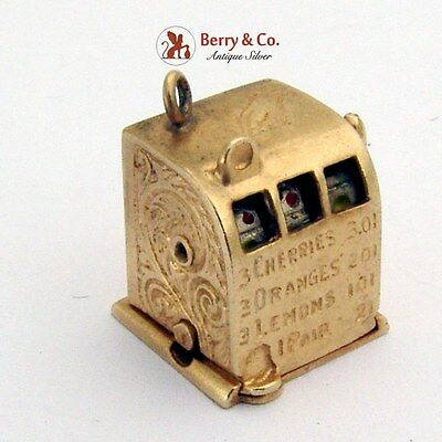 Vintage Slot Machine Charm Enamel 14 K Gold