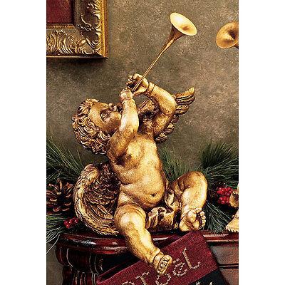 Italian Baroque Sculpture - Baroque BOY w TRUMPET CHERUB STATUE Italian Gold Look Angel Sculpture Gift Horn
