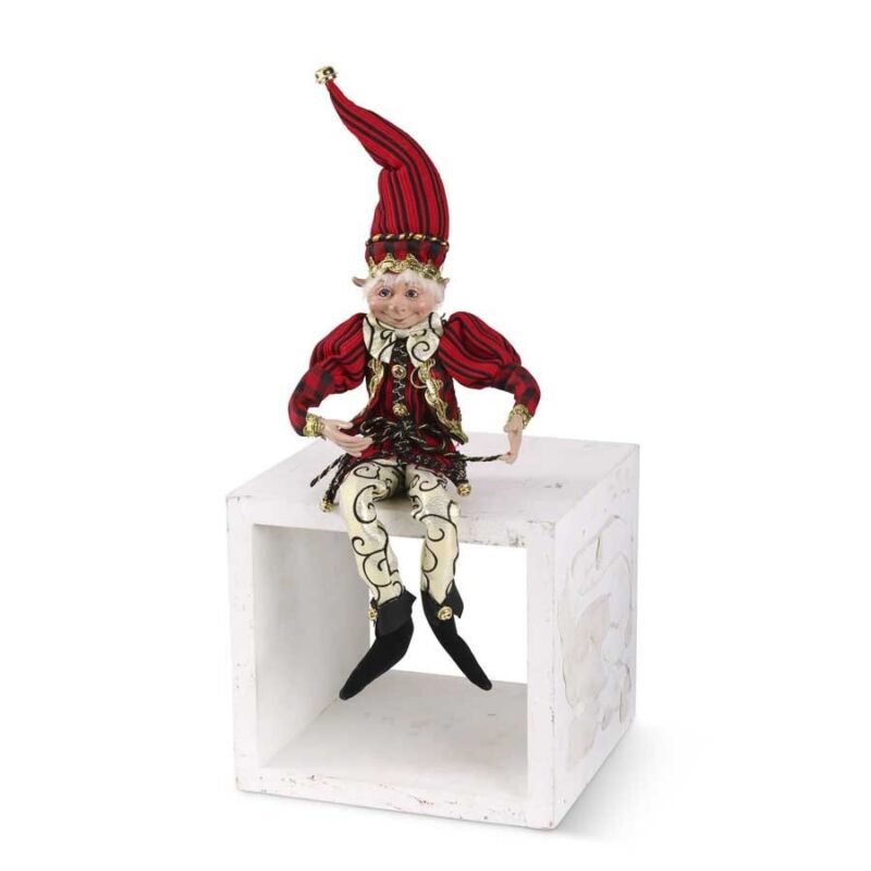"""Christmas Elf Jester Red Black Gold Posable 21"""" Doll Holiday Decor Bells"""