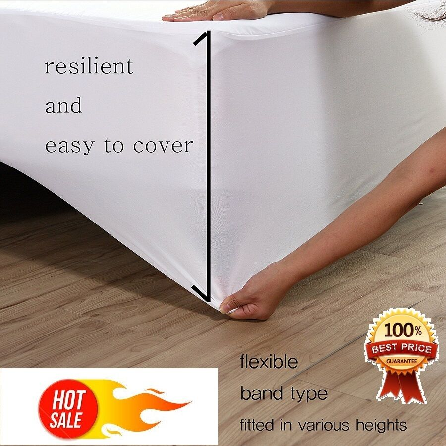 Mattress Topper Protector Cover Pad Fitted Sheet Bed Waterpr