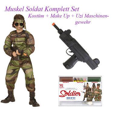 SOLDAT KOSTÜM SET KINDER Karneval Uniform Jungen Maschinen Gewehr Make Up  So12