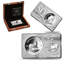 2017 South Africa 3 oz Silver 50th Anniv of the Krugerrand Coin & Bar Set (w/Box
