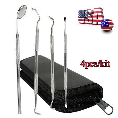 Dentist Tool Kit Stainless Steel Tarter Remover Dental Pick Hygiene W Black Bag