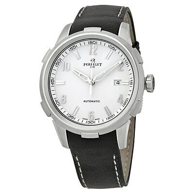Perrelet Class-T Automatic White Dial Black Leather Mens Watch A1068/1