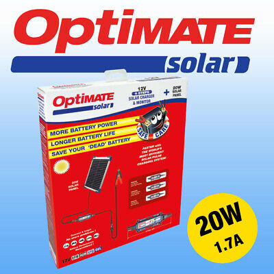 Optimate 20w Solar Panel, Fully Automatic Motorcycle Battery Charger Maintainer