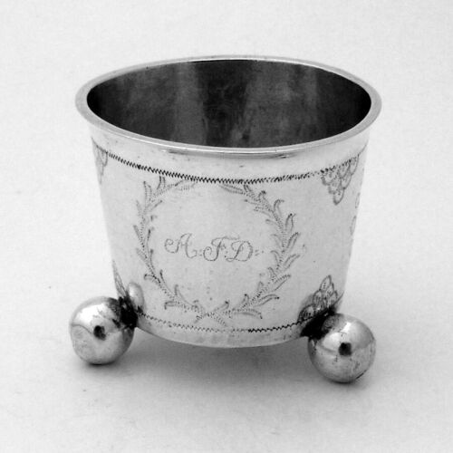 Norwegian Silver Open Salt Ball Feet Christen Hoff 1837 Bergen
