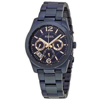 Fossil Perfect Boyfriend Navy Blue Dial Ladies Watch ES4093
