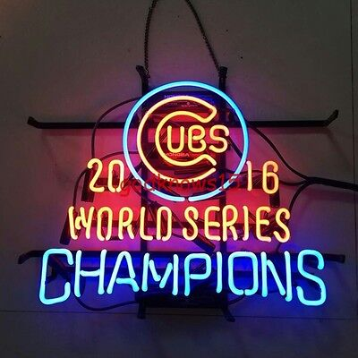 """17"""" Chicago Cubs World Series Champions 2016 Tube NEON LIGHT BEER BAR SIGN"""