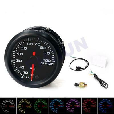 "2"" 52mm 7 Colors LED Car Oil Pressure Gauge 0-100PSI Oil Press Meter With Sensor"