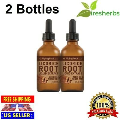 2X LICORICE ROOT LIQUID EXTRACT Herbal Supplement ALCOHOL & SUGAR FREE 100% Pure