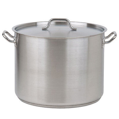 20 Qt. Heavy-Duty Aluminum / Stainless Steel Silver Stock Pot with Lid Cover
