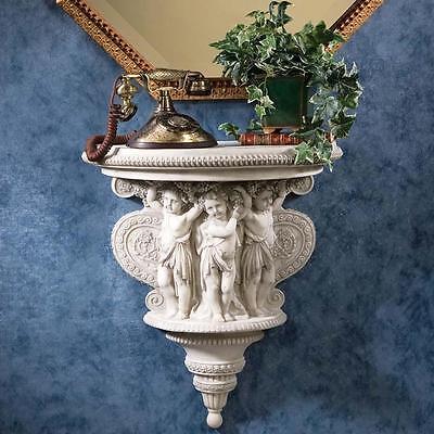 Italian Baroque Sculpture - Italian Baroque Antique Cherubs Sculpture Console Shelf Replica Reproduction
